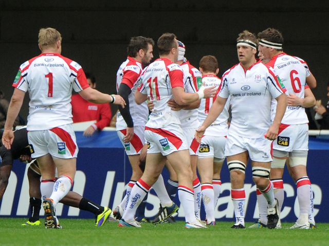 Ulster celebrate Andrew Trimble's try in France