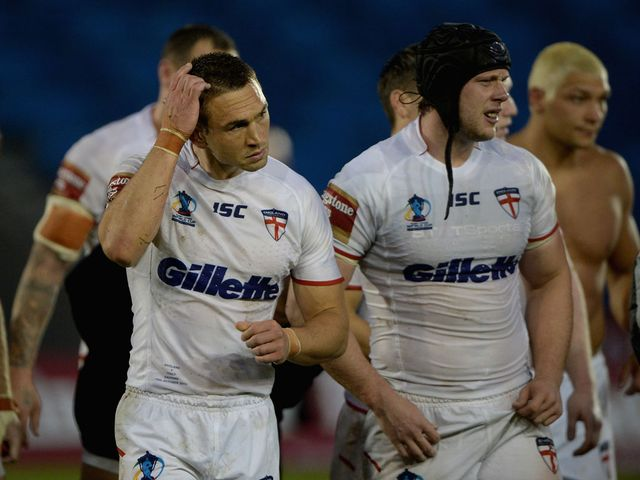 Disgruntled England pair Chris Hill and Kevin Sinfield leave the field