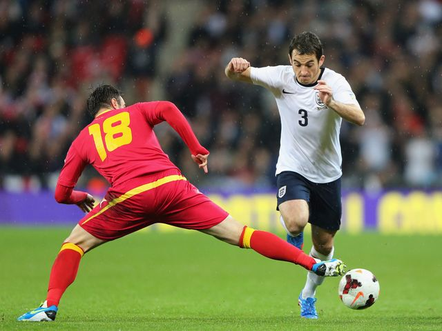 Leighton Baines in action for England.