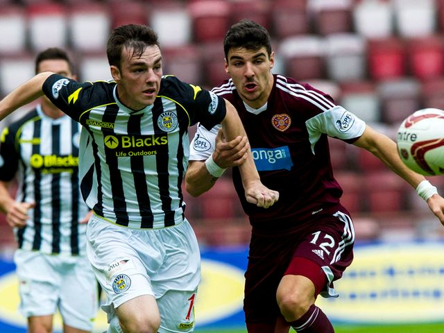 Sean Kelly contests for the ball with Hearts' Callum Paterson