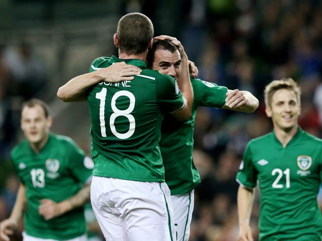 John O'Shea celebrates for Republic of Ireland
