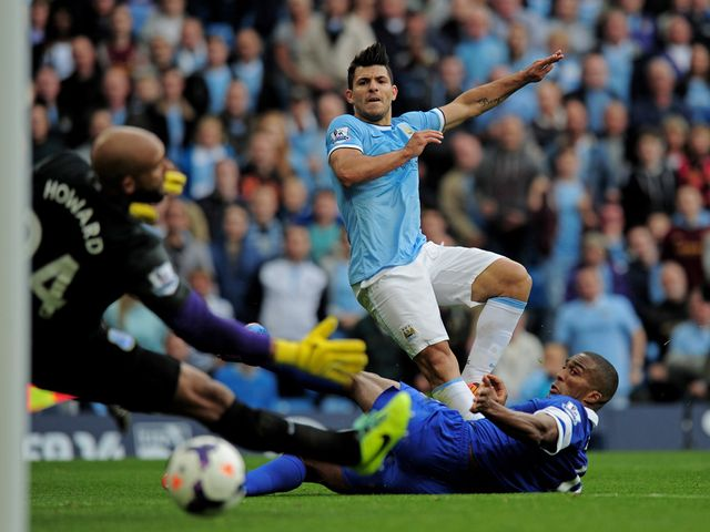 Sergio Aguero fires home Man City's equaliser