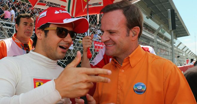 Rubens Barrichello interviews countryman Felipe Massa in his more recent role as an F1 TV pundit