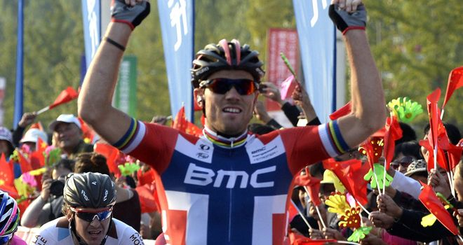 Thor Hushovd used his supreme power to defeat his rivals