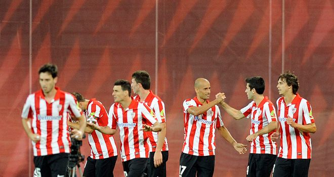 Bilbao celebrate Mikel Rico's opening goal