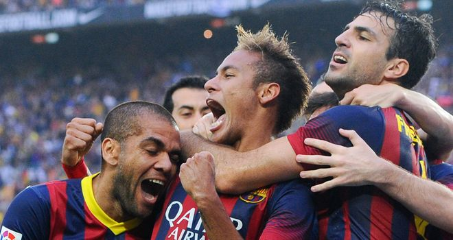 Neymar: Celebrates opening the scoring for Barcelona