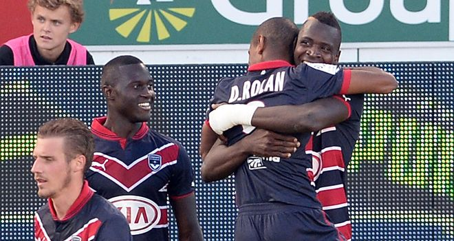 Cheick Diabate celebrates scoring for Bordeaux