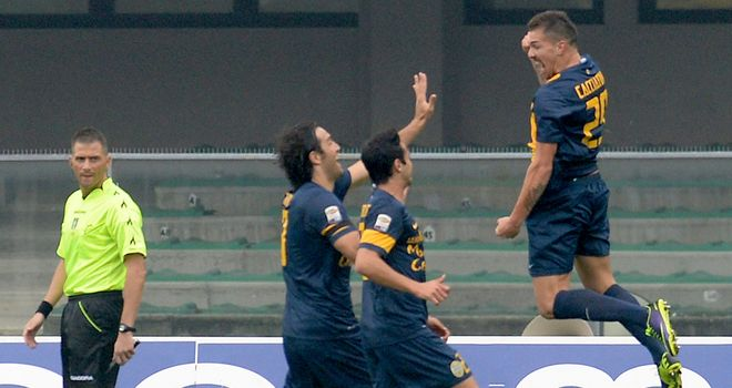 Jumping for joy: Fabrizio Cacciatore celebrates his opener for Verona