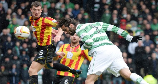 Georgios Samaras: Heads Celtic into an early lead against Partick Thistle