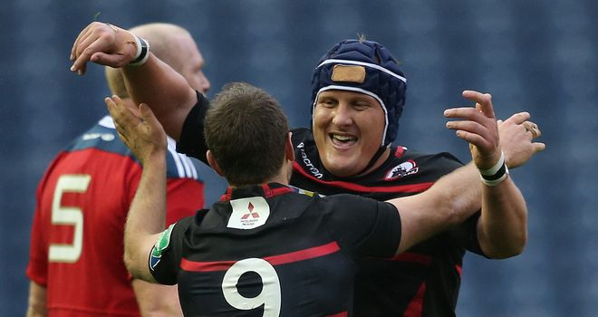 Edinburgh's Greig Laidlaw celebrates with Wicus Blaauw