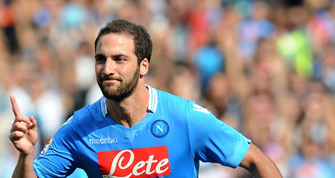 Gonzalo Higuain: Celebrates after scoring for Napoli
