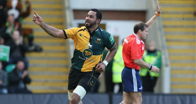 Samu Manoa celebrates his early try for Northampton