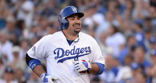 Adrian Gonzalez: Hit two home runs for the LA Dodgers