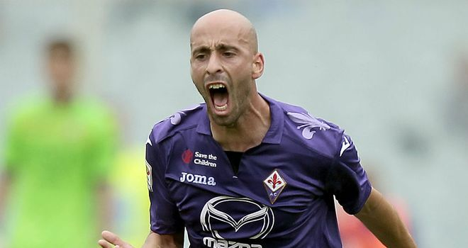 Borja Valero: At hand to score for Fiorentina