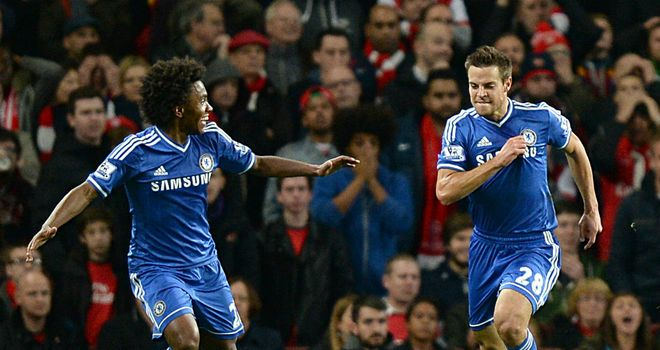 Cesar Azpilicueta celebrates his first goal for Chelsea