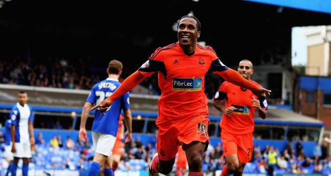 Neil Danns: Celebrates after scoring for Bolton at Birmingham