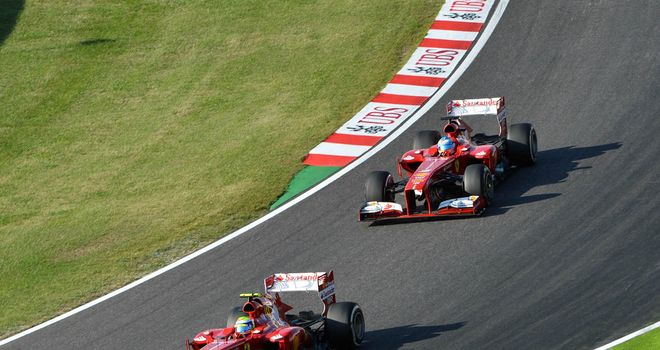 Felipe Massa refused to let Fernando Alonso past during the Japanese GP