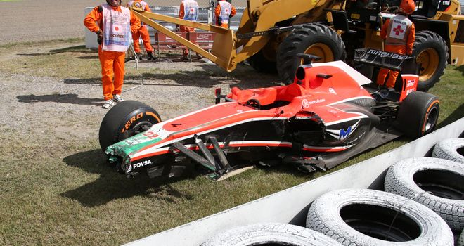 Jules Bianchi crashed out in P1