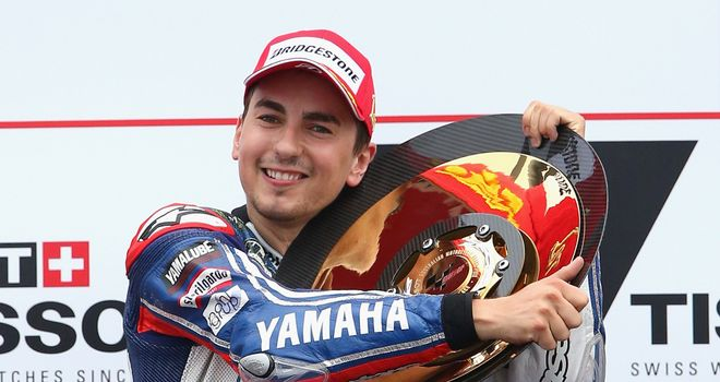 Jorge Lorenzo celebrates winning the Australian MotoGP race at Phillip Island