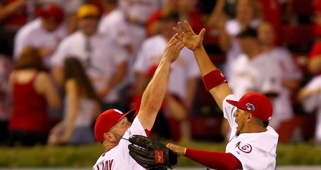 St Louis Cardinals duo Matt Holliday and Jon Jay celebrate