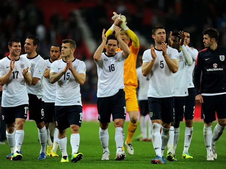 England celebrate reaching the World Cup finals