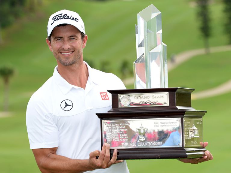 Adam Scott (l): Edged out Justin Rose