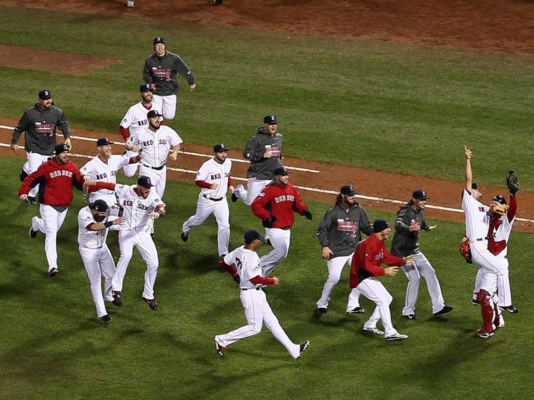 The Red Sox players celebrate their victory