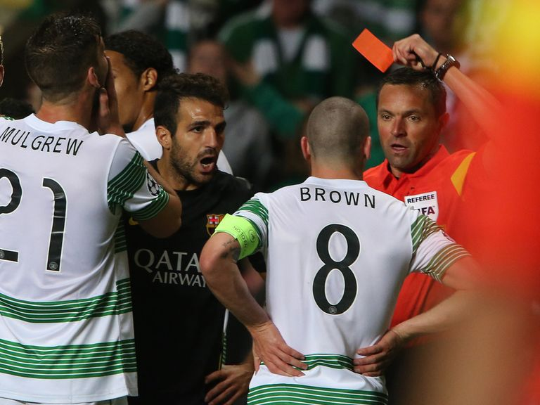 Scott Brown sees red against Barcelona