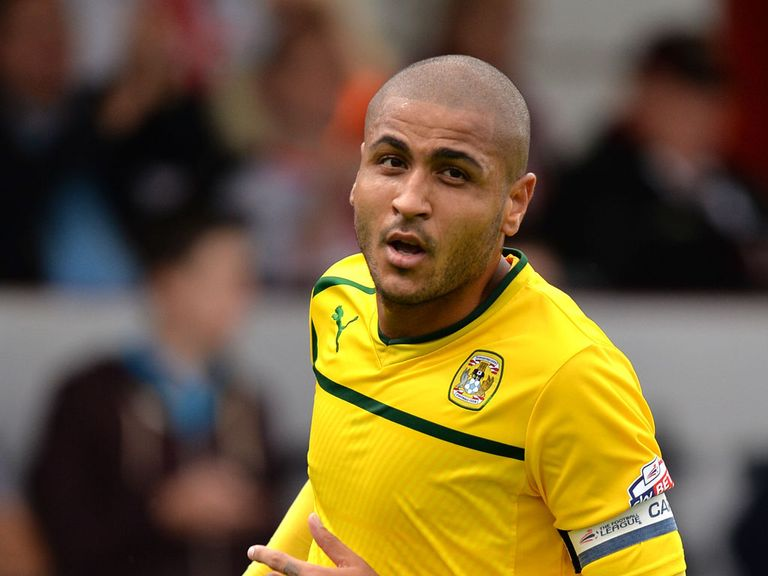 Leon Clarke celebrates his goal for Coventry