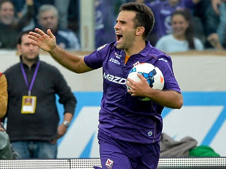 Celebration time for Fiorentina's Giuseppe Rossi