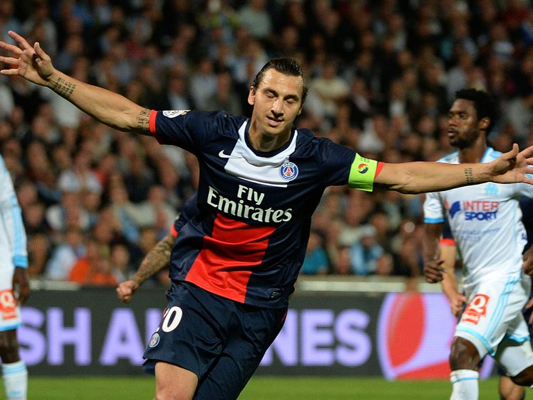 Zlatan Ibrahimovic celebrates his goal for PSG