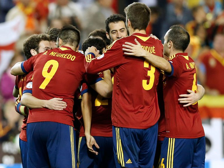 Spain celebrate against Georgia on Tuesday night