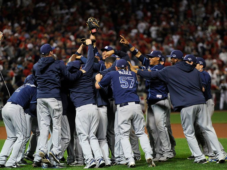 The Tampa Bay Rays celebrate their victory