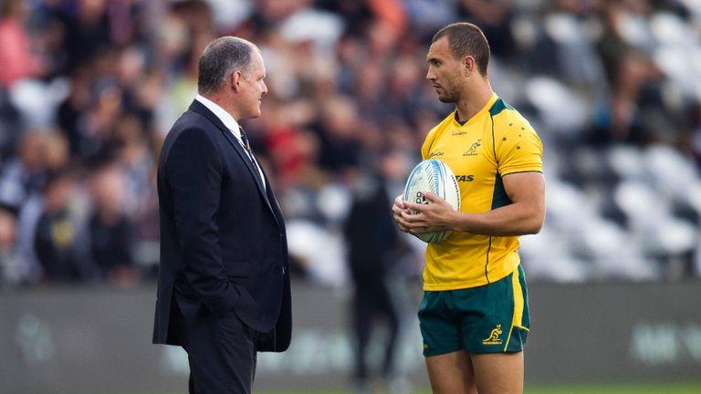Ewen McKenzie (L): Australia coach hails his fly-half Quade Cooper (R)