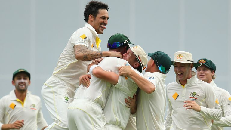 Australia celebrate during the first Test in Brisbane