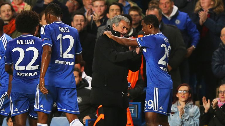 Samuel Eto'o: Celebrates goal with Mourinho