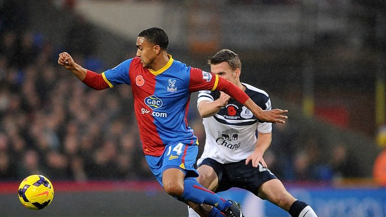 Jerome Thomas: The Crystal Palace winger holds off Seamus Coleman in his side's 0-0 draw with Everton
