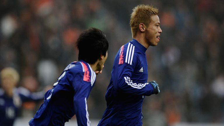 Keisuke Honda: Celebrates equaliser for Japan against Holland