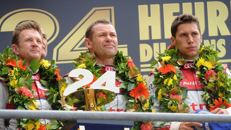 Allan McNish (left), Tom Kristensen (centre) and Loic Duval won in Le Mans earlier this year