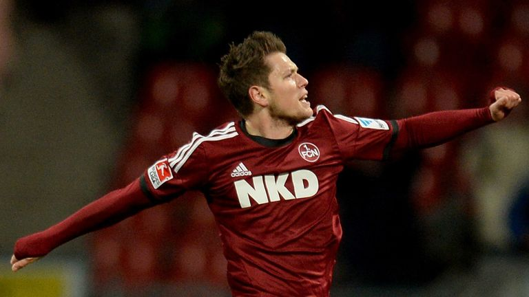 Daniel Ginczek of Nuernberg celebrates in style