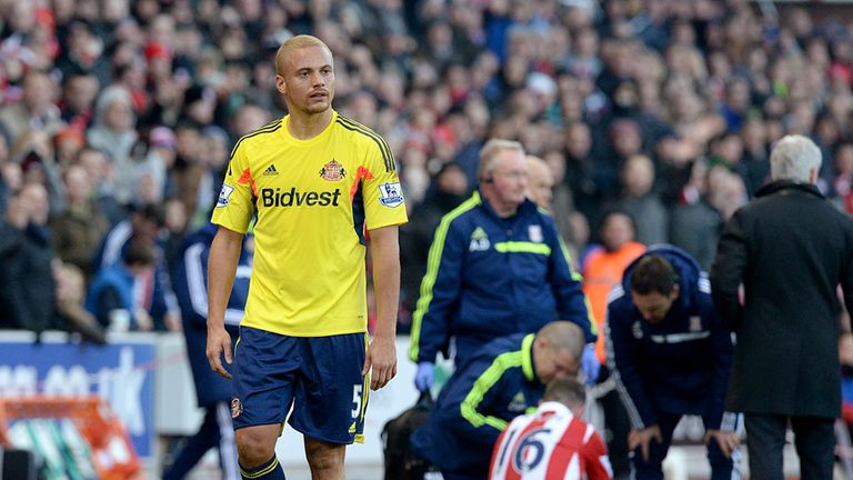 Wes Brown: Walks off disconsolate at being sent off by Kevin Friend