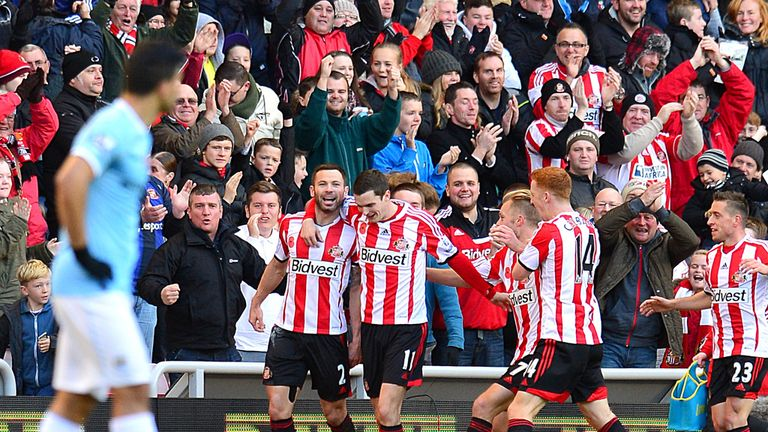 Phil Bardsley: The Sunderland defender celebrates after netting the winner against Manchester City