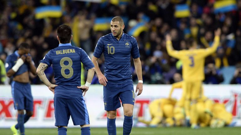 Karim Benzema: Part of a France side that trails Ukraine 2-0 in a World Cup play-off