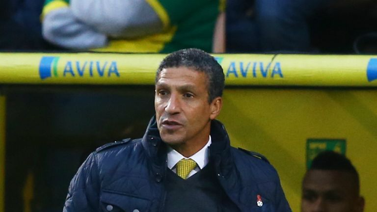 Chris Hughton: Norwich boss watched his side triumph 2-0 at West Brom