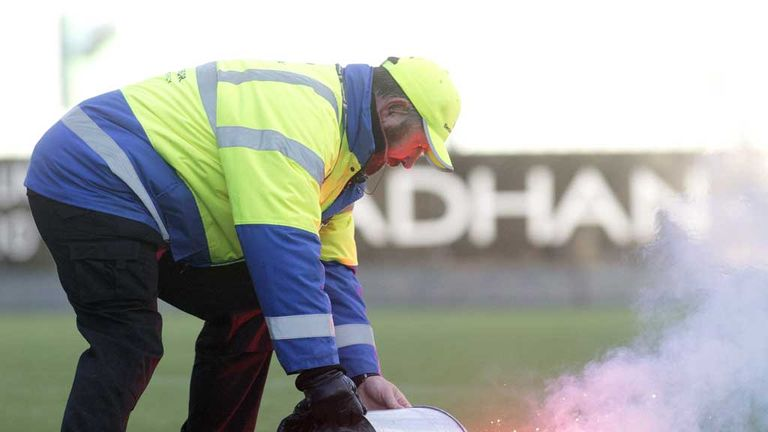 Flare being extinguished last month at Falkirk