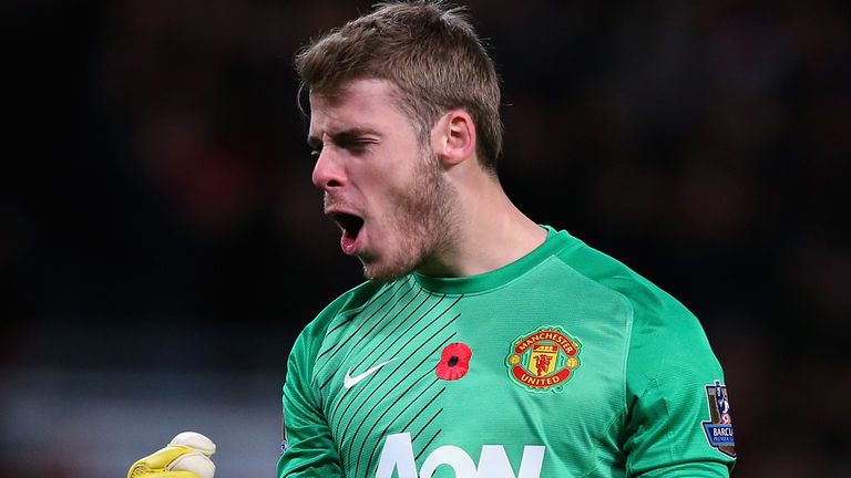 Manchester United keeper David de Gea working overtime