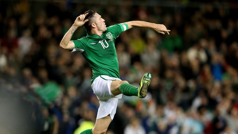 Robbie Keane: Celebrates first-half goal