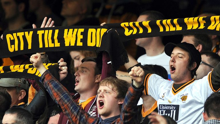 Hull City fans: Opposed to the club owner's plan to rename the club Hull Tigers.