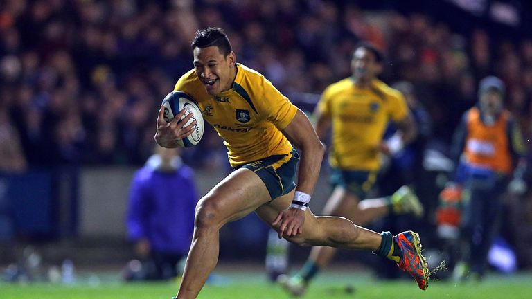 Israel Folau: Scored try for Australia in the first half