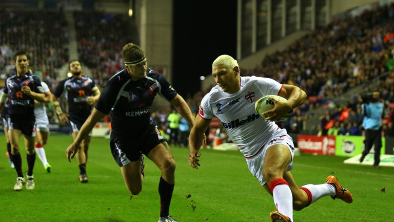 Ryan Hall: Races in to to score his second try for England